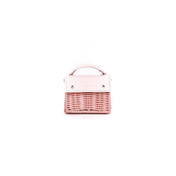 Micro-Kuai--Pink---Front-Wicker-Wings-Wicker bag-Bucket bag-Bags for women-Designer Handbags-Beach bag-Summer bag-Straw Bag-Black bag-Crossbody bag-Mini bag-Leather handbags-Purse