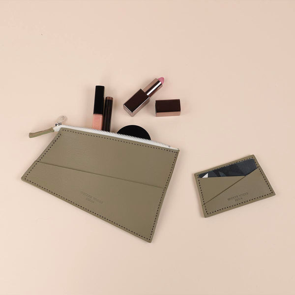 Olive Zipped Pouch & Cardholder Set (5060389896331)