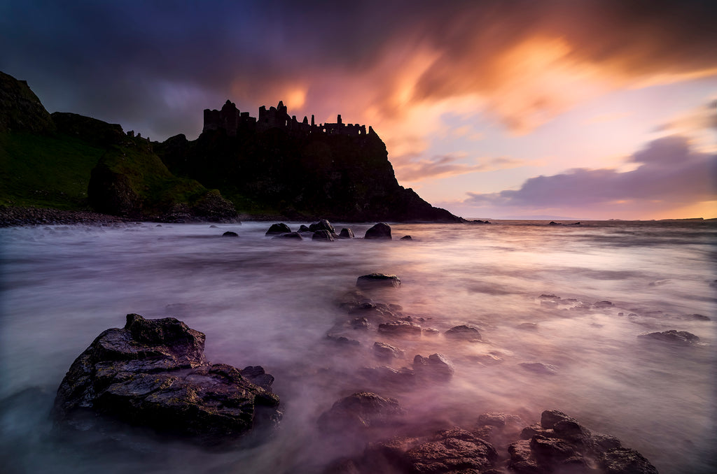 Red sky over Dunluce Castle
