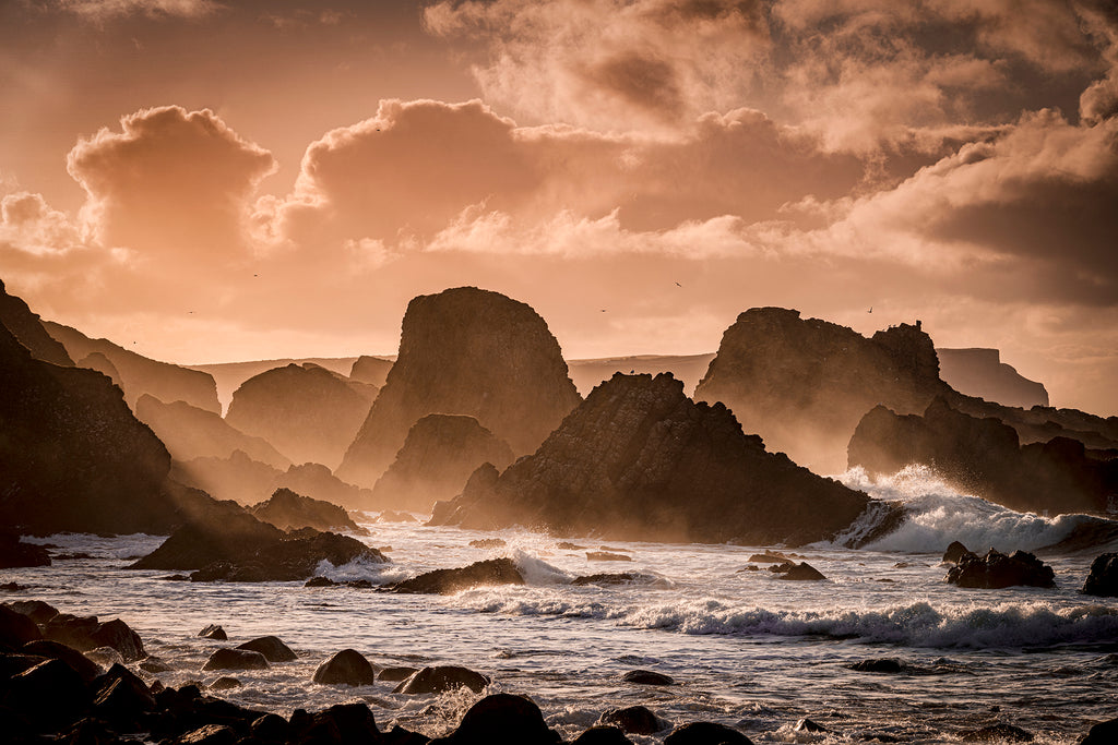 Waves crashing on Rocks at Ballintoy Northern Ireland
