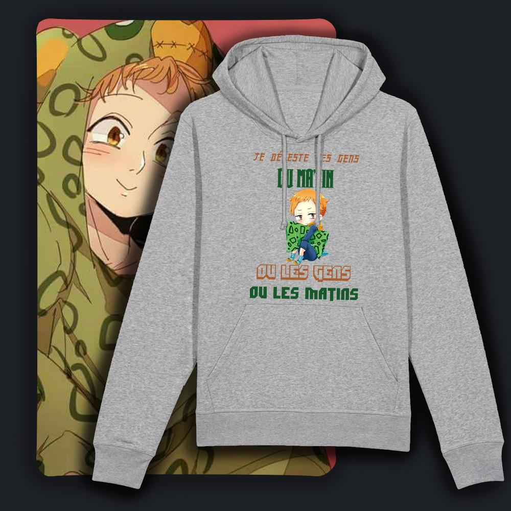"sweat manga ""je déteste les gens du matin, ou les gens, ou les matins"" est illustré avec King de Nanatsu no taizai texte humouritique sweat drôle collection sweat-shirt manga homme et sweat-shirt manga femme gris"