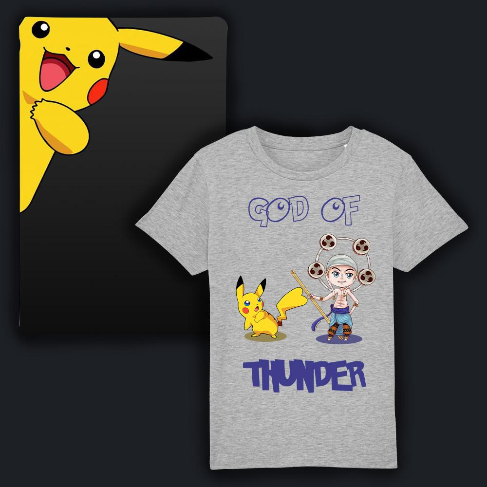 "Tee-shirt enfant manga 3ans à 14ans T-shirt manga ""God of thunder"" illustré avec Enel de One piece et Pikachu et Pokemon texte humouristique collection t-shirt manga enfant gris"