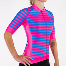 Load image into Gallery viewer, RACEFIT PINK & BLUE STRIPED JERSEY