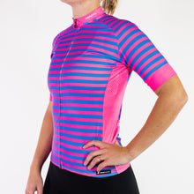 Load image into Gallery viewer, SPORTSFIT PINK & BLUE STRIPED JERSEY