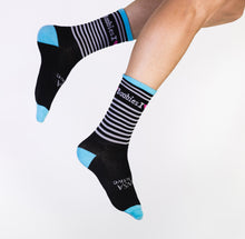 Load image into Gallery viewer, BLACK & WHITE STRIPED SOCKS
