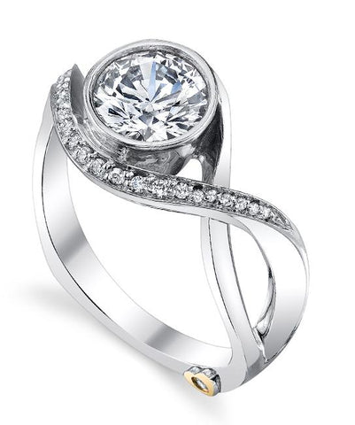 swirling modern engagement ring