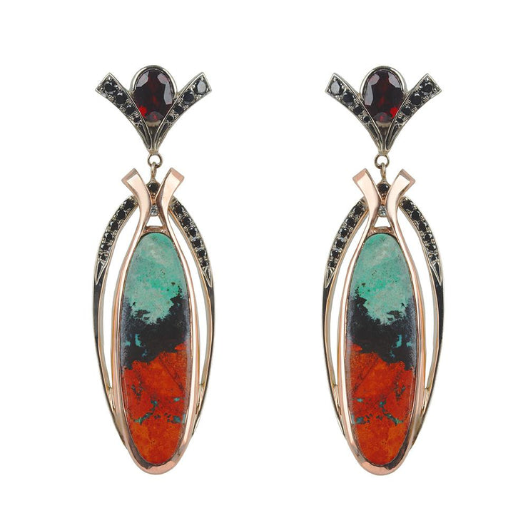Labyrinth Agate & Garnet Earrings