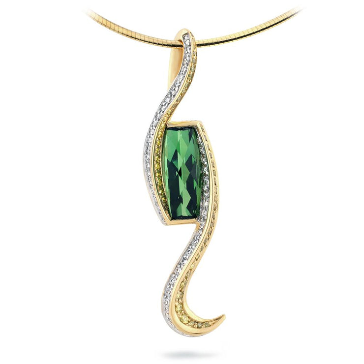 Switchback Pendant with Tourmaline