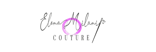 Elena Milani Couture Logo, black text with a purple round circle in the background, and a dressmaker needle at the end of the name