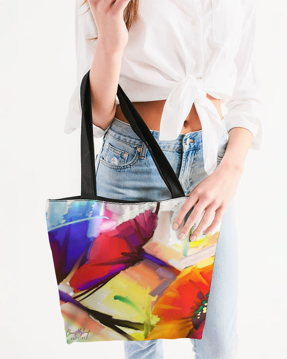 Pop Tulip Design Canvas Zip Tote