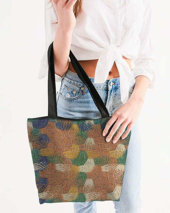 Woven straw Canvas Zip Tote  MADE AND PRINT TO ORDER
