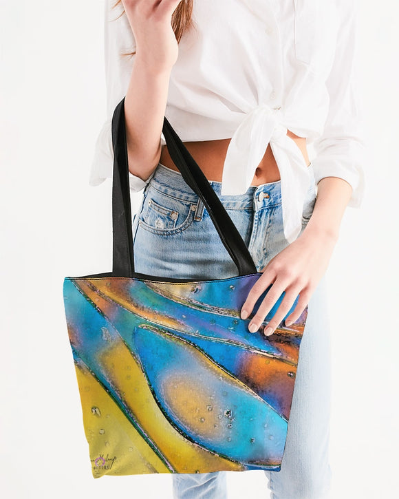 Pop Wave Design Canvas Zip Tote