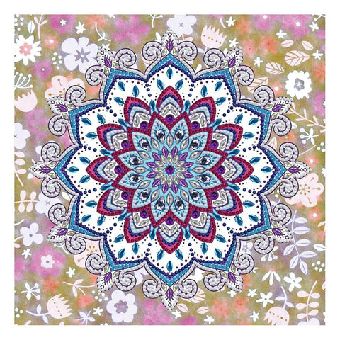 Diamond painting glow in the dark mandala blauw, paars en roze