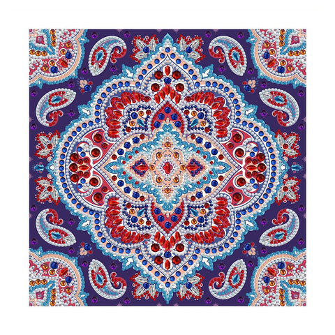 diamond painting glow in the dark mandala blauw en rood kopen