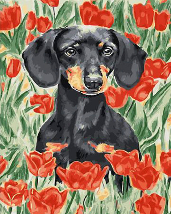 diamond painting hond tulpen teckel