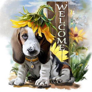 diamond painting hond welcome zonnebloem