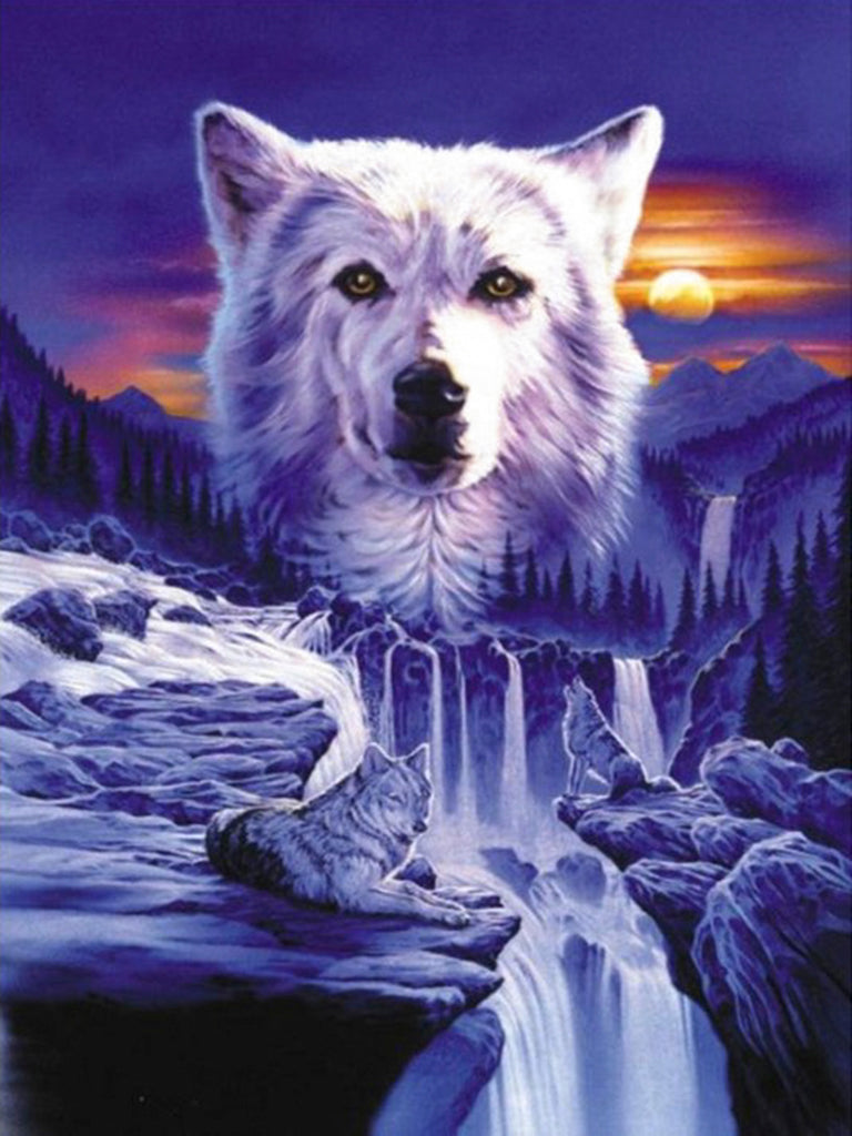 Diamond painting wolf met waterval
