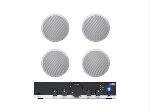 Audac COM108 PA Amplifier with CIRA 724 Ceiling Speakers