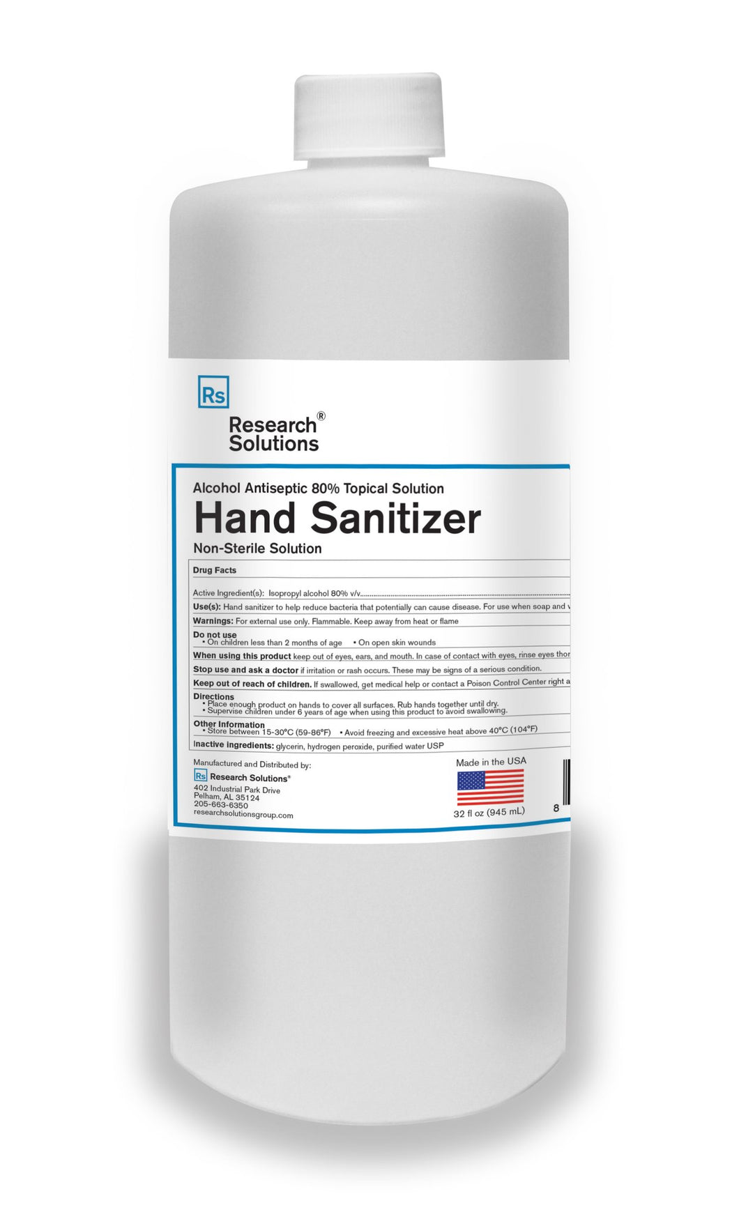 Hand Sanitizer Alcohol Antiseptic - Quart (case of 12) *Non-Sterile Solution