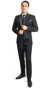 Savile Row D9 Black Merino Wool Suit Jacket