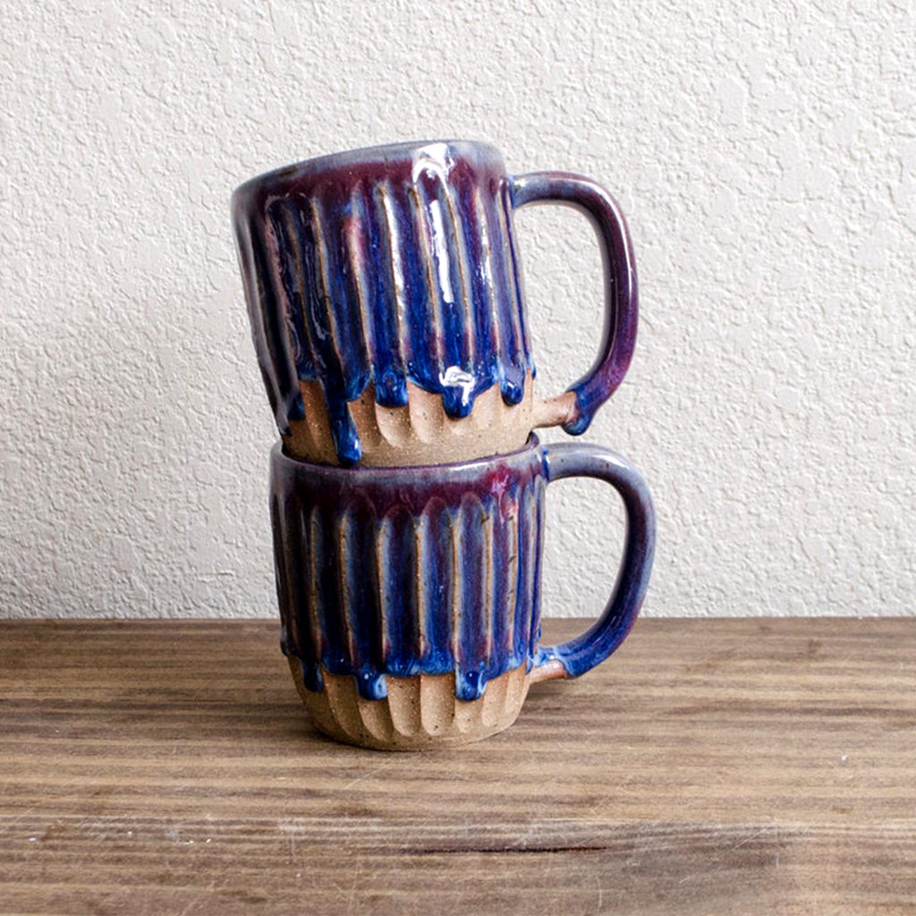 Cosmic purple fluted drip mug