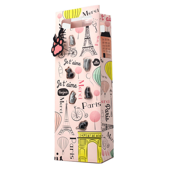 PARIS CAT WINE CHARMS GIFT BAG