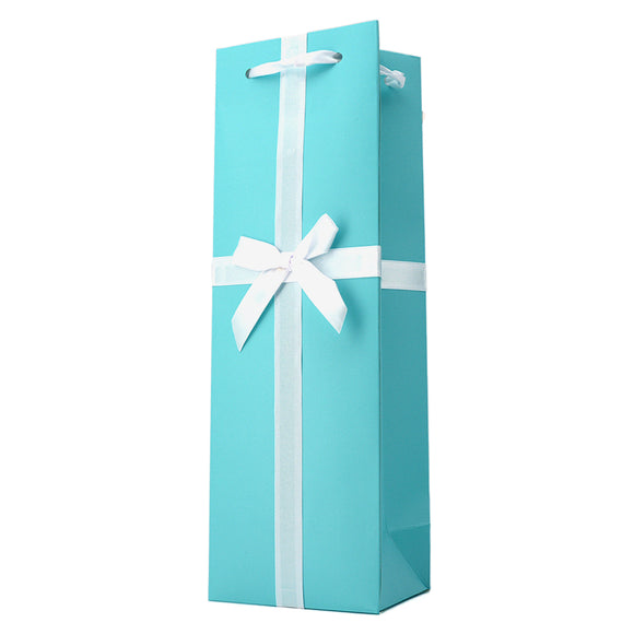 AUDREY TURQUOISE WITH WHITE BOW WINE GIFT BAG