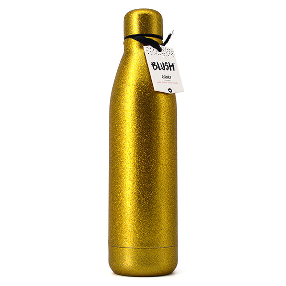 BLUSH COMET GOLD GLITTER WATER BOTTLE