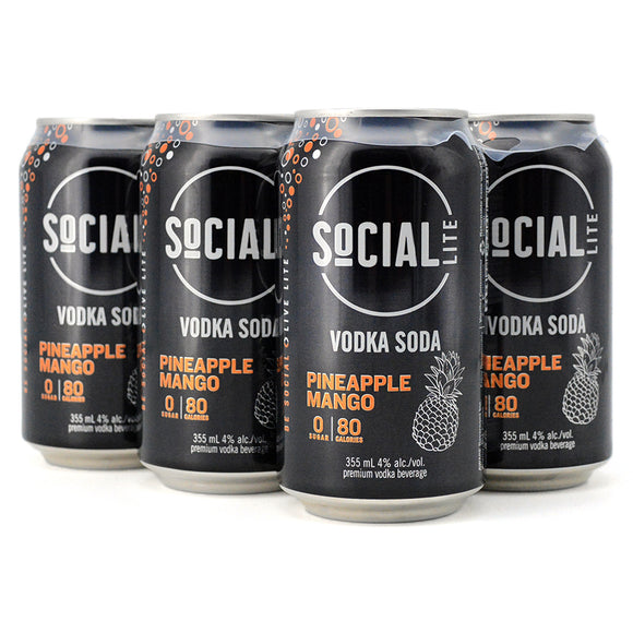 SOCIAL LITE VODKA SODA PINEAPPLE MANGO 6C
