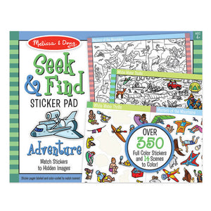 Melissa & Doug Seek & Find Sticker Pad - Adventure (400+ Stickers, 14 Scenes to Color), Multicolor