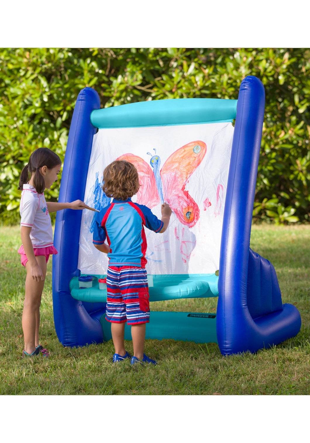 Inflatable Easel with Paints, Blue/White | Hearth Song