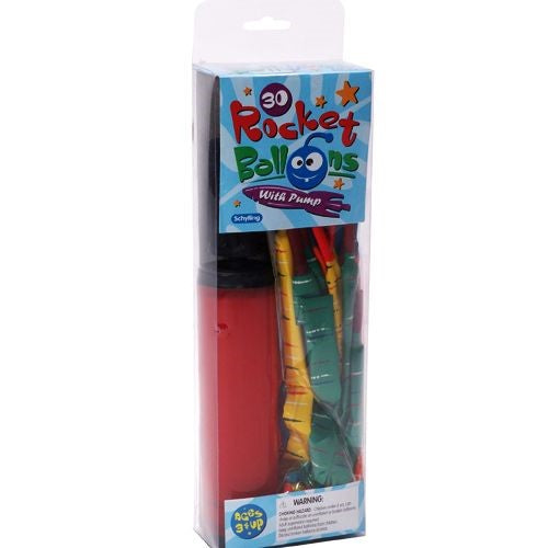 Rocket Balloon by Schylling - with Pump - Rocket Balloons & Pump: 30 Balloons