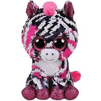 Mini Zoey TY Flip Sequin Pink Zebra Plush