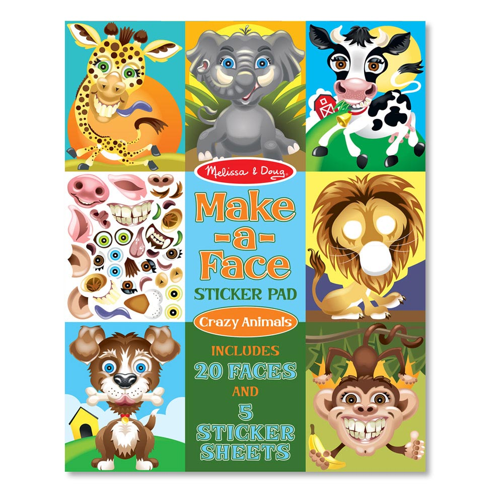Make-a-Face Sticker Pad: Crazy Animals - (Paperback)