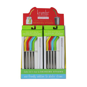 Krumbs Kitchen Essentials 2336469 Stainless Steel Straws with Silicone Tips, Assorted Color - Pack of 4 - Case of 24