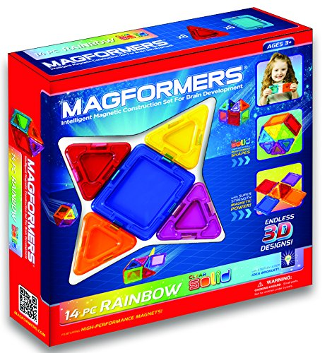 MAGFORMERS Solids Clear Rainbow 14 Piece Set Playset
