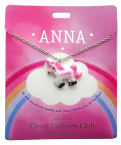 Cloud Unicorn Necklace - Personalized Names M to Z