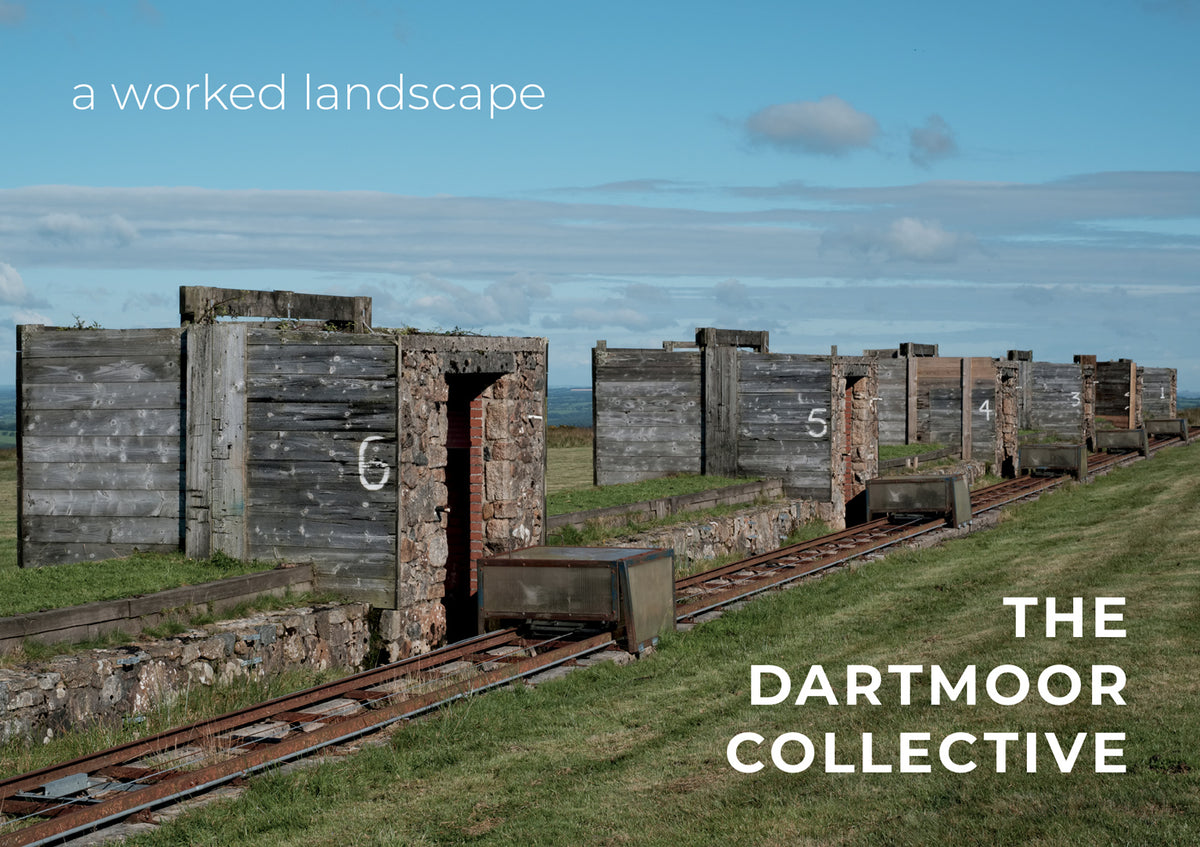 Front cover of the 'A Worked Landscape' photozine by The Dartmoor Collective, showing a disused military firing range on Dartmoor
