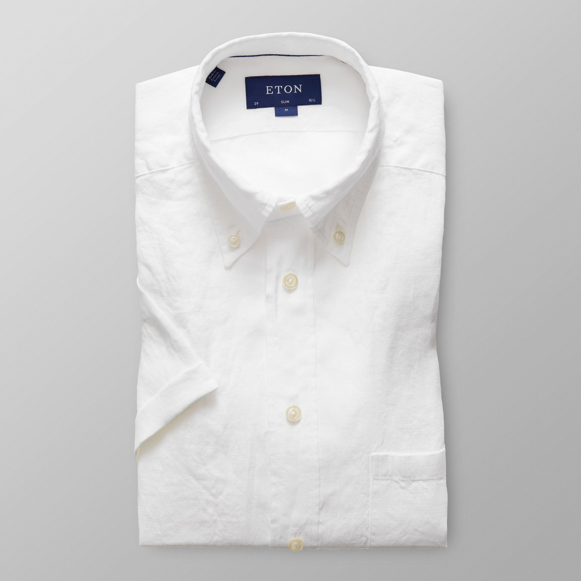 ETON - Slim Fit White Linen Short Sleeve Shirt 02525759300