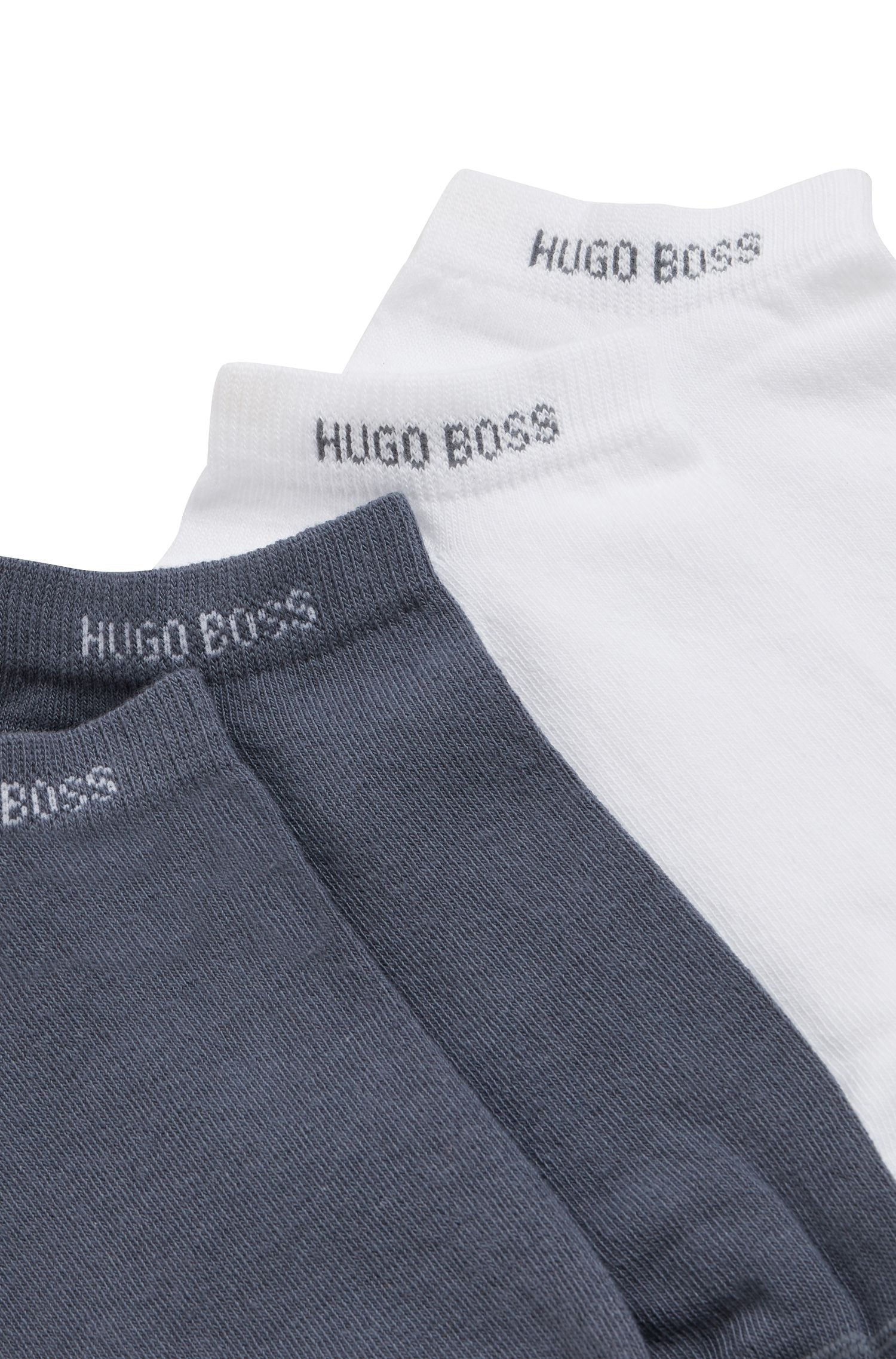 Hugo Boss - White and Grey 2-pack of Ankle Socks in a Cotton Blend 50407405