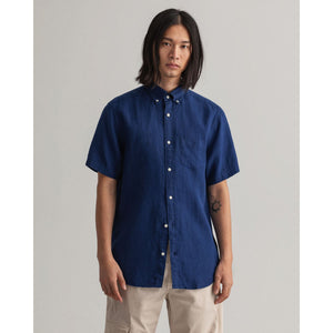 GANT - Navy Blue Regular Fit Short Sleeve Linen Shirt 3012421