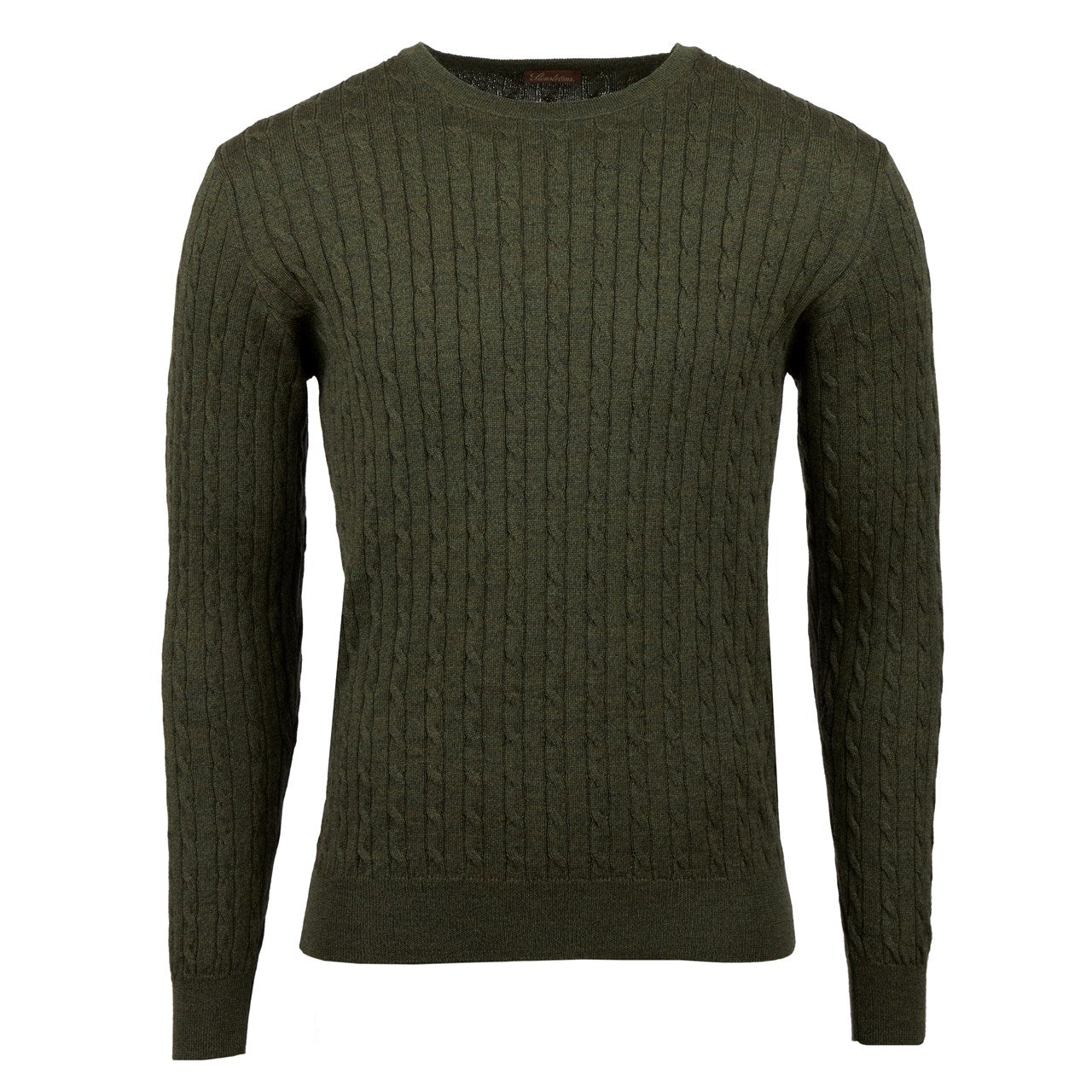 Stenstroms - Green Merino Cable Crew Neck Knitwear 422285