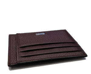 Hugo Boss - CROSSTOWN Six-Slot Card Case in Dark Red Grained Italian Leather 50390405
