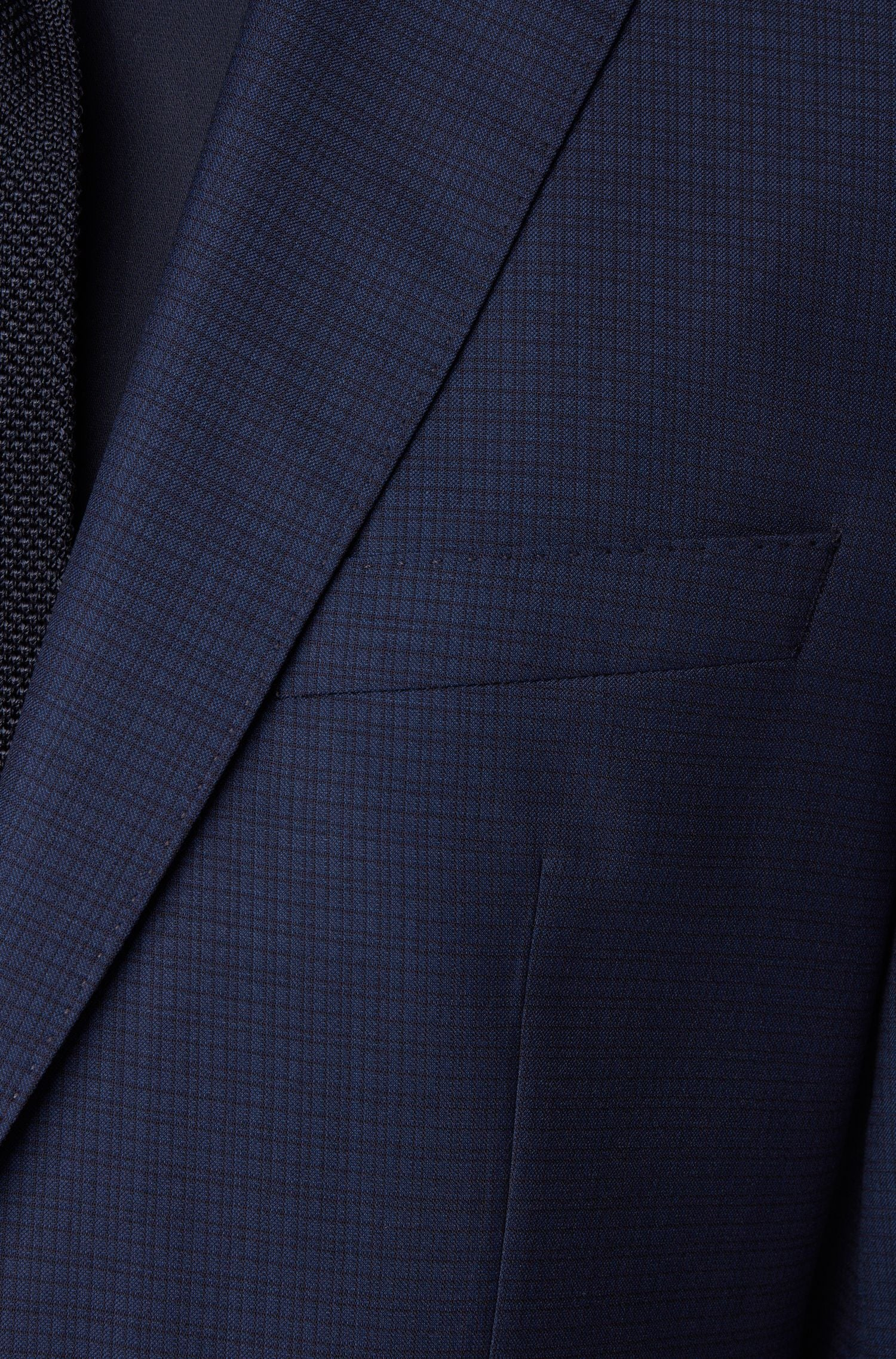 Hugo Boss - Dark Blue Micro Check Wool and Silk Blend Suit 50427248