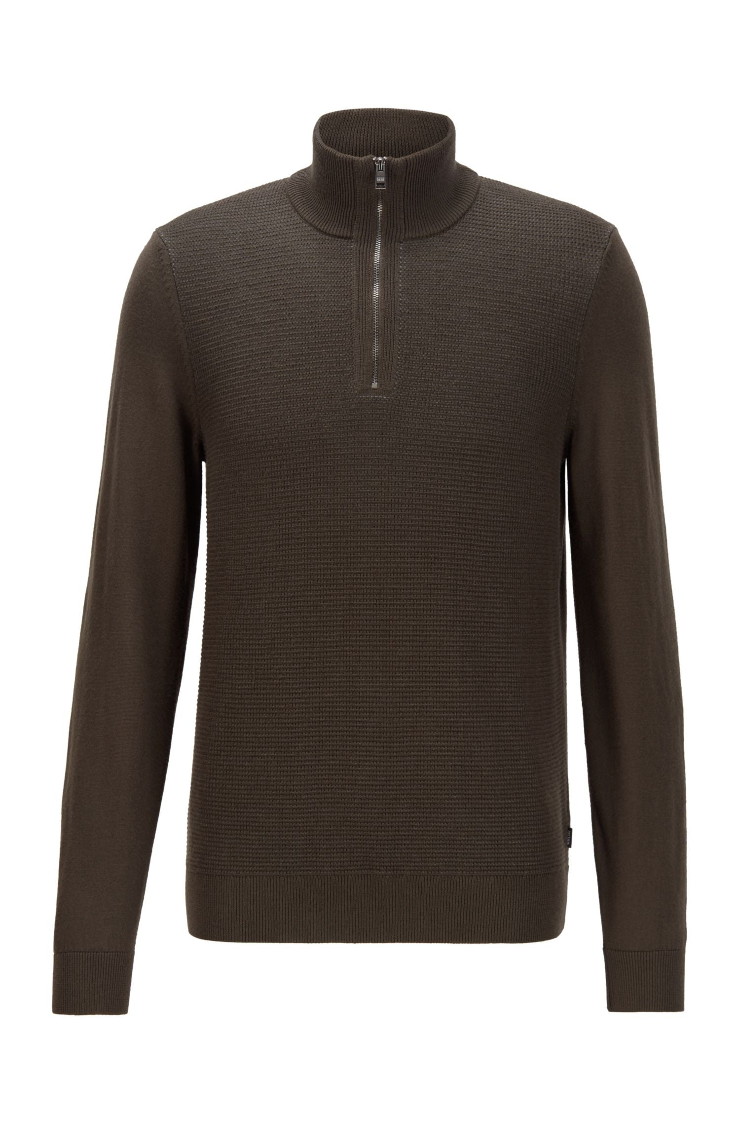 Hugo Boss - MADAN Khaki Green Zip-Neck Sweater In Virgin Wool & Cotton 50435244