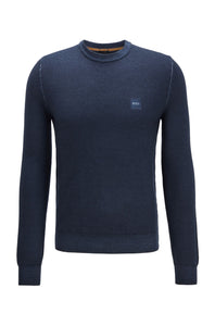 Hugo Boss - ANITOBA_R Dark Blue Micro-Structured Sweater in Virgin Wool 50438992