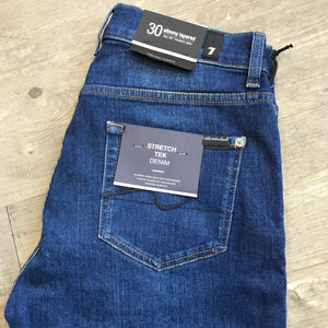 7 For All Mankind - Mid Blue SLIMMY TAPERED STRETCH TEK DENIM Jeans JSMXB480HY