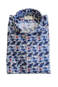 Stenstroms - Blue Floral Print Slimline Shirt in Luxurious Two Fold Cotton 712361