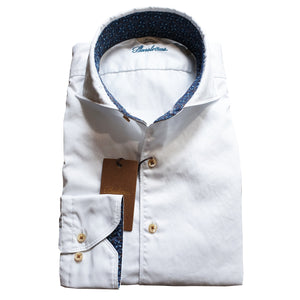Stenstroms - White Slimline Shirt with Contrast Trim 775221