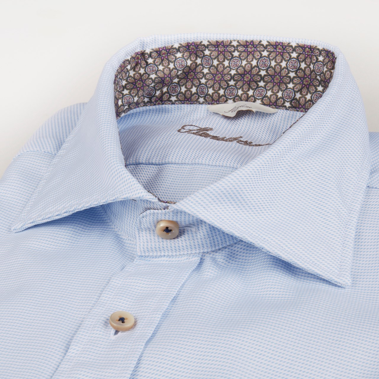 Stenstroms - Light Blue Casual Slimline Shirt With Contrast Trim